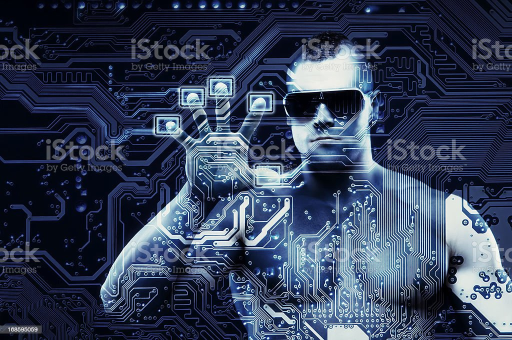 Scanning in progress. Cyber security concept with digital being. royalty-free stock photo