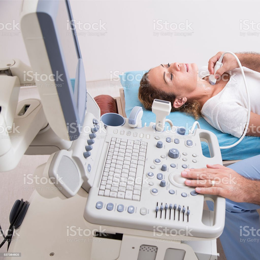 Scanning of a thyroid stock photo