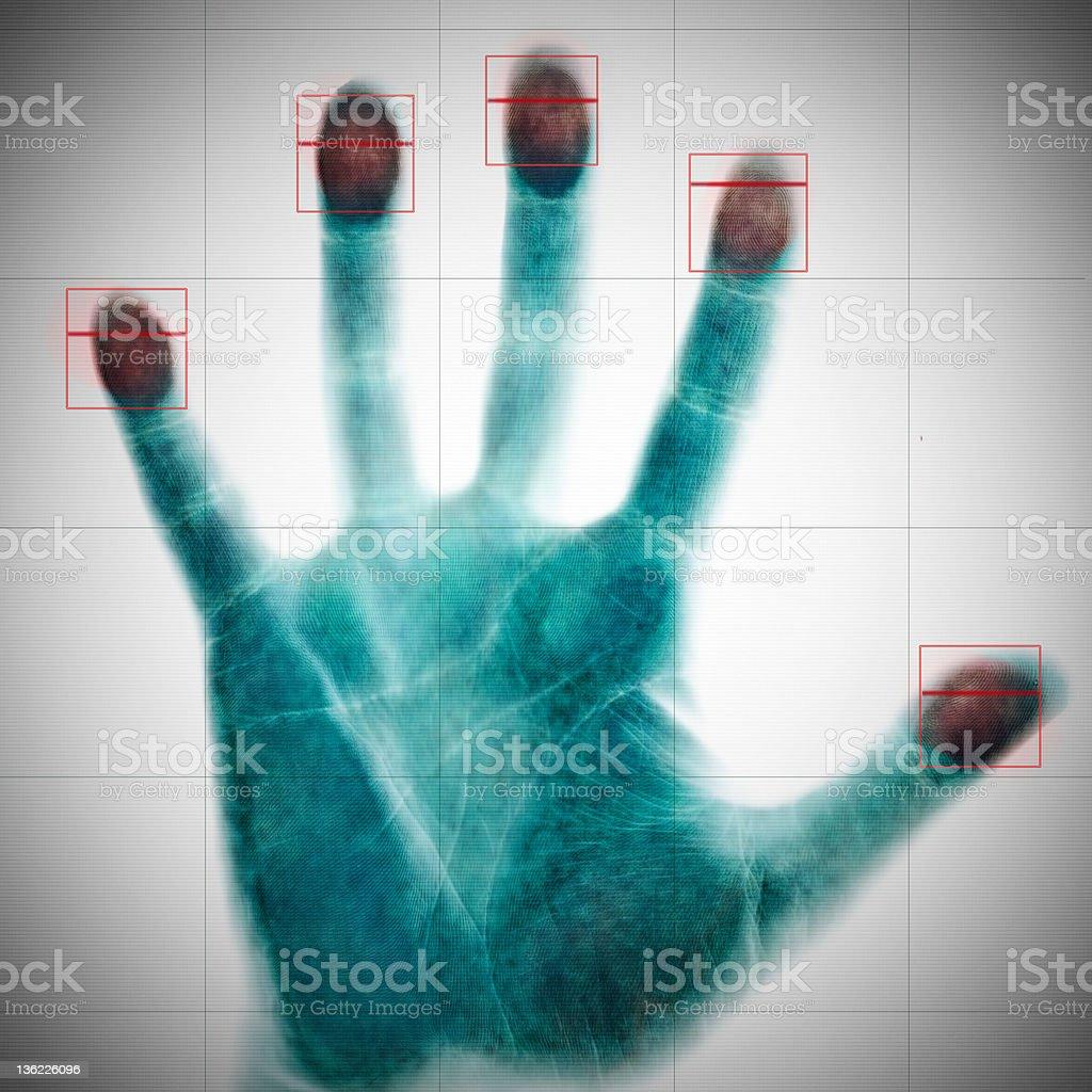 scanning of fingerprints stock photo