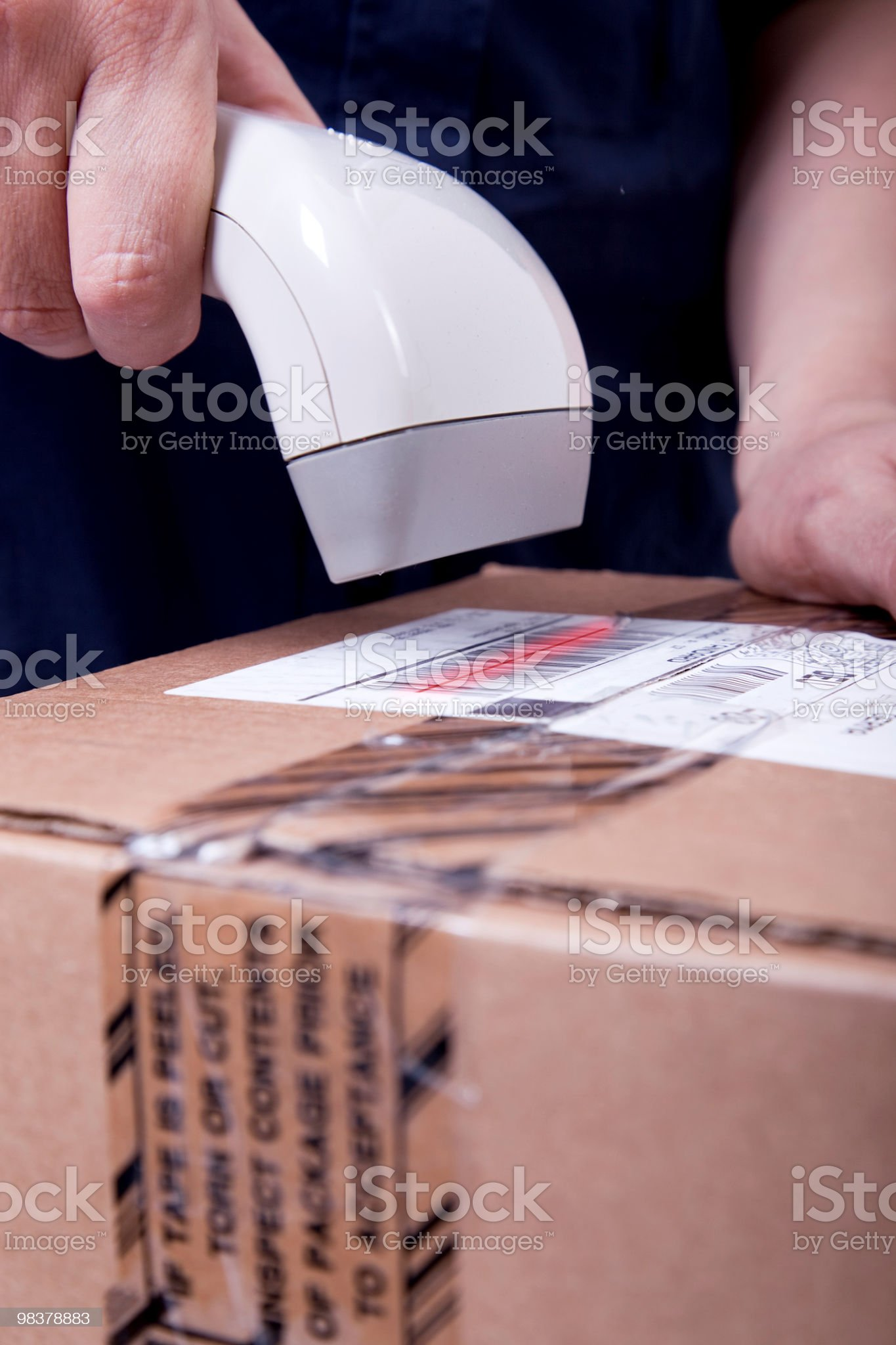 Scanning parcel royalty-free stock photo