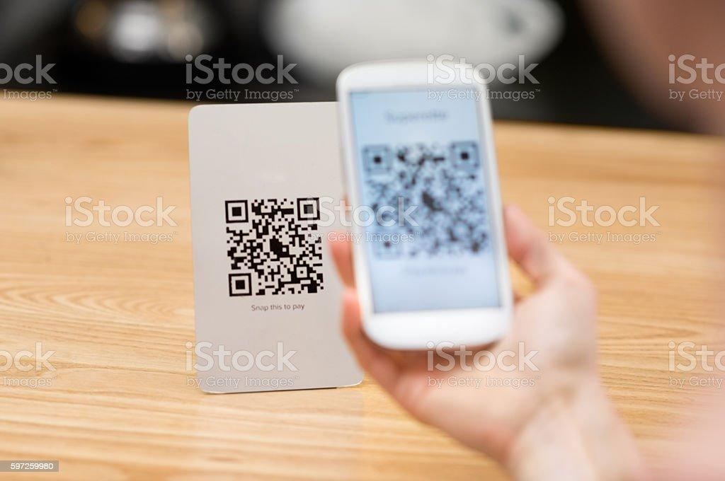 Scanning qr code stock photo