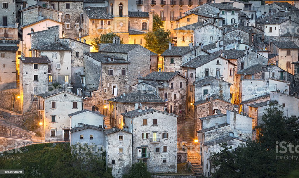 Scanno cityscape at dusk,  L'Aquila Province, Abruzzi Italy stock photo