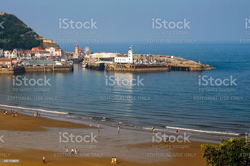 Scarborough beach and harbour stock photo
