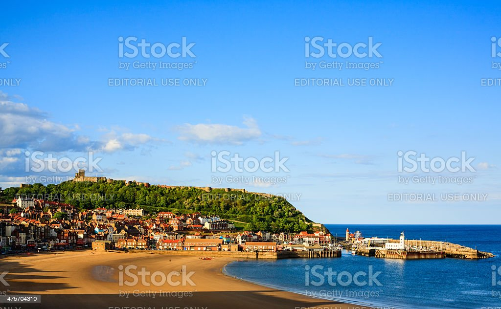 Scarborough beach, castle and harbour view stock photo