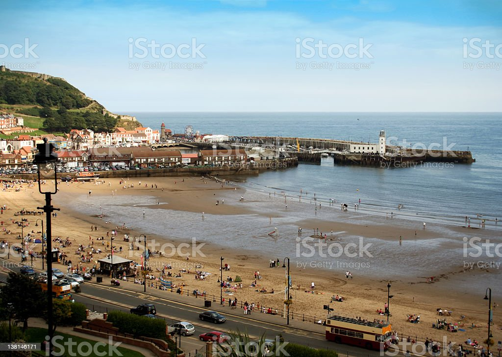Scarborough beach - the British seaside in summer stock photo