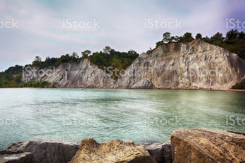 Scarborough Bluffs (Bluffer's Park) landscape on Lake Ontario stock photo