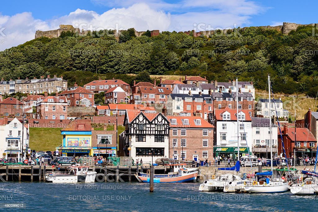 Scarborough harbour and castle stock photo