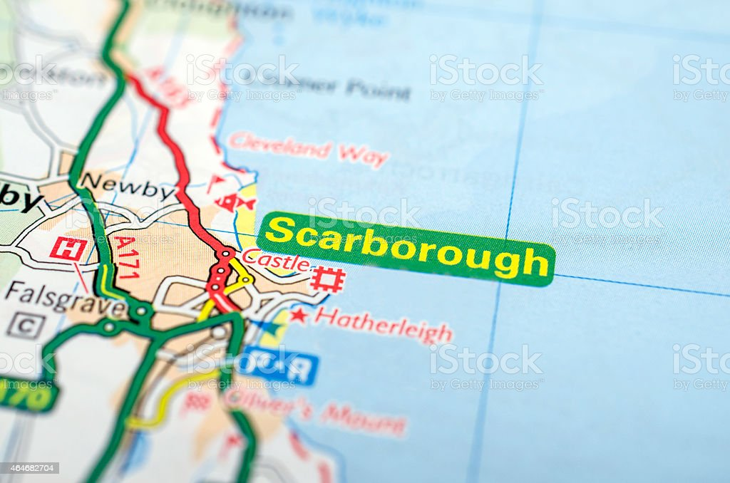 Scarborough on road map stock photo