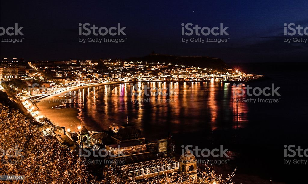 Scarborough South Bay at night stock photo
