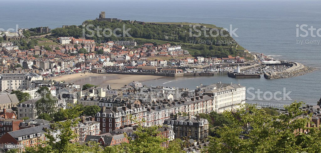 scarborough town and castle stock photo