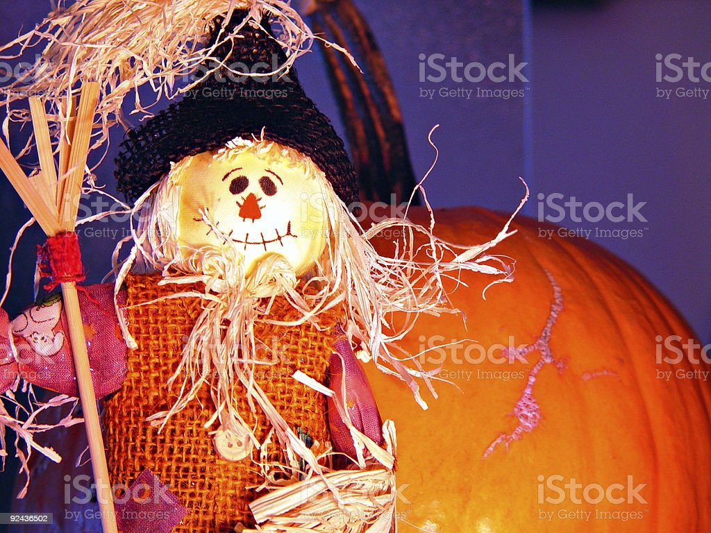 Scarecrow and Pumpkin royalty-free stock photo