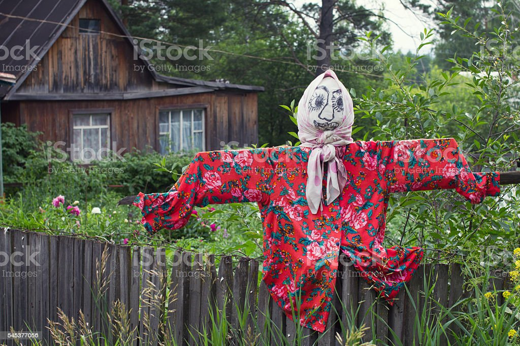 scarecrow female in shawl stock photo