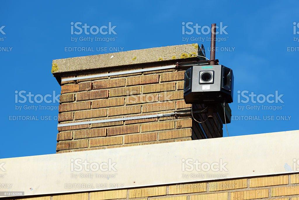 Scarecrow loudspeaker stock photo
