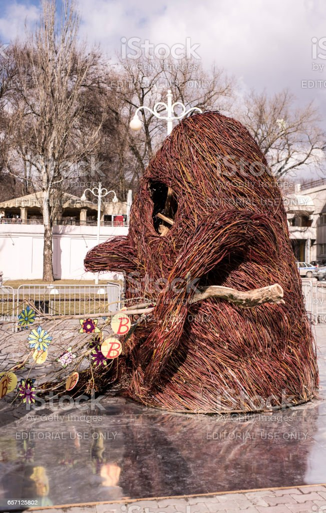 Scarecrow made from brushwood in a park at Carnival.By evening it will be burnt stock photo