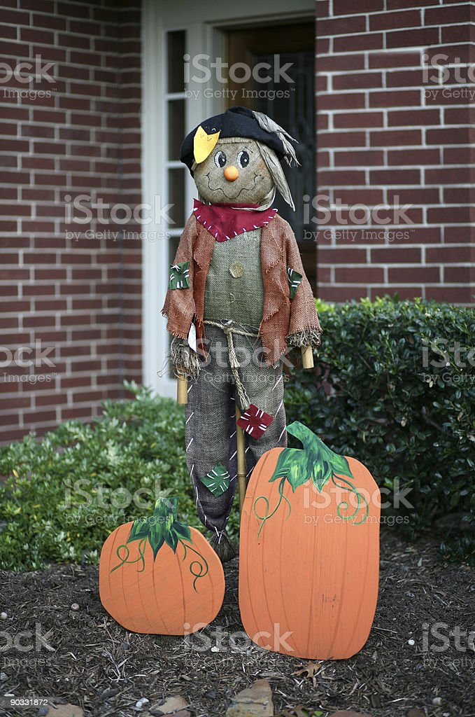 Scarecrow standing guard stock photo