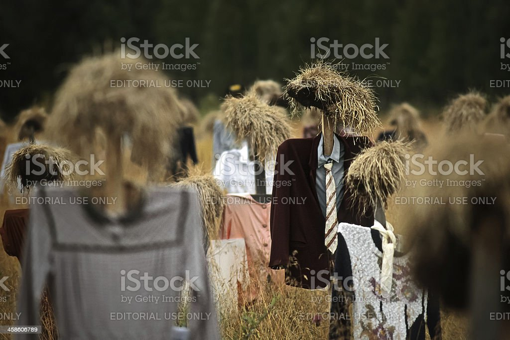 Scarecrows art  installation at Suomussalmi stock photo