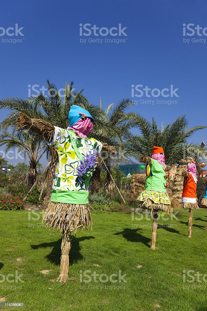 Scarecrows at a Fall Festival. royalty-free stock photo