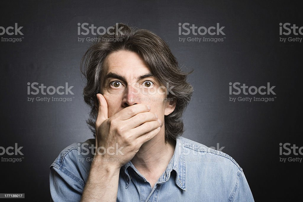 scared adult man royalty-free stock photo