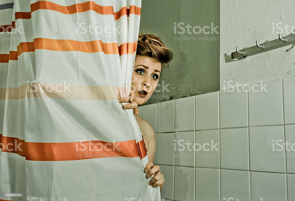 Scared at the shower... stock photo