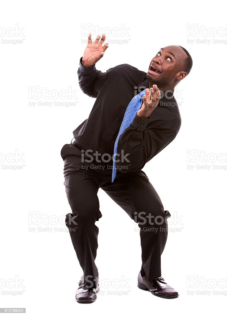 scared black businessman stock photo