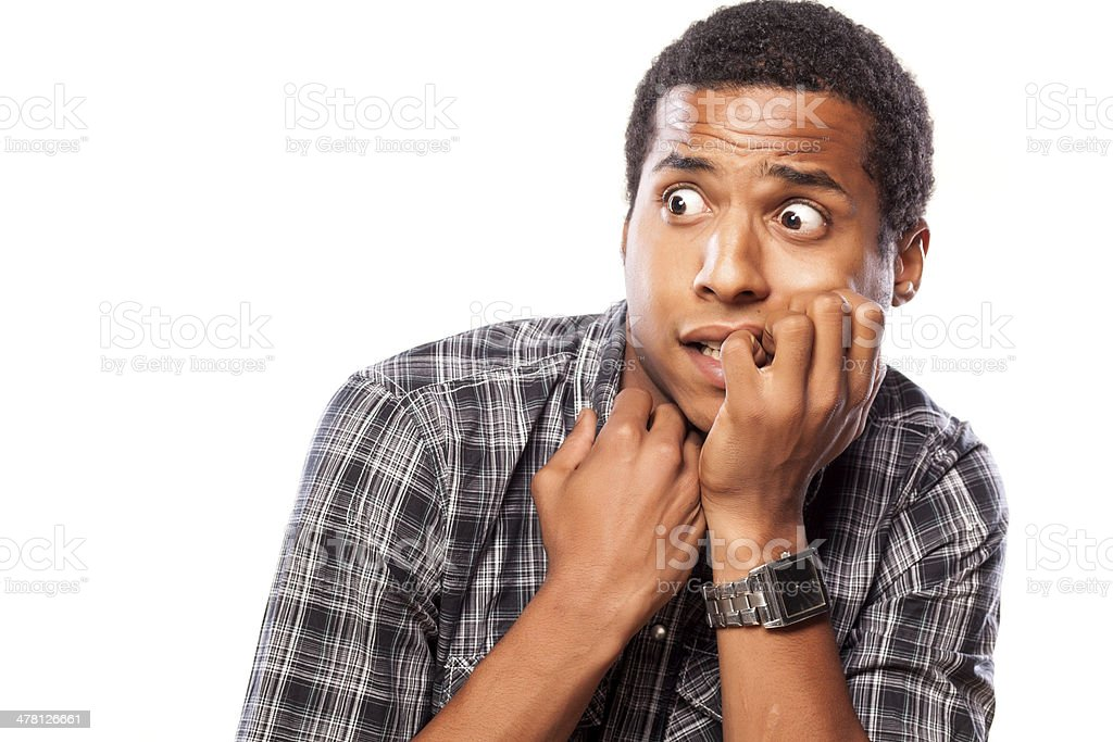 scared boy stock photo