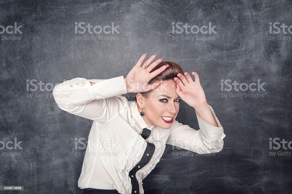 Scared business woman stock photo