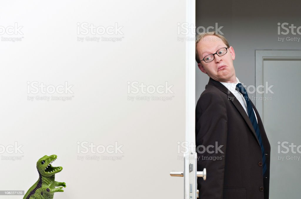 Scared Businessman stock photo