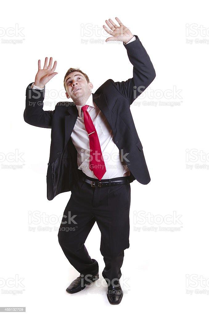 Scared businessman stock photo