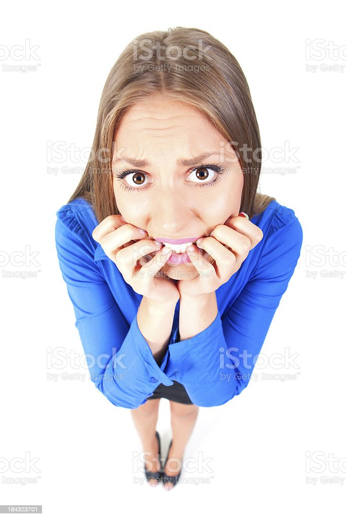 Scared businesswoman royalty-free stock photo