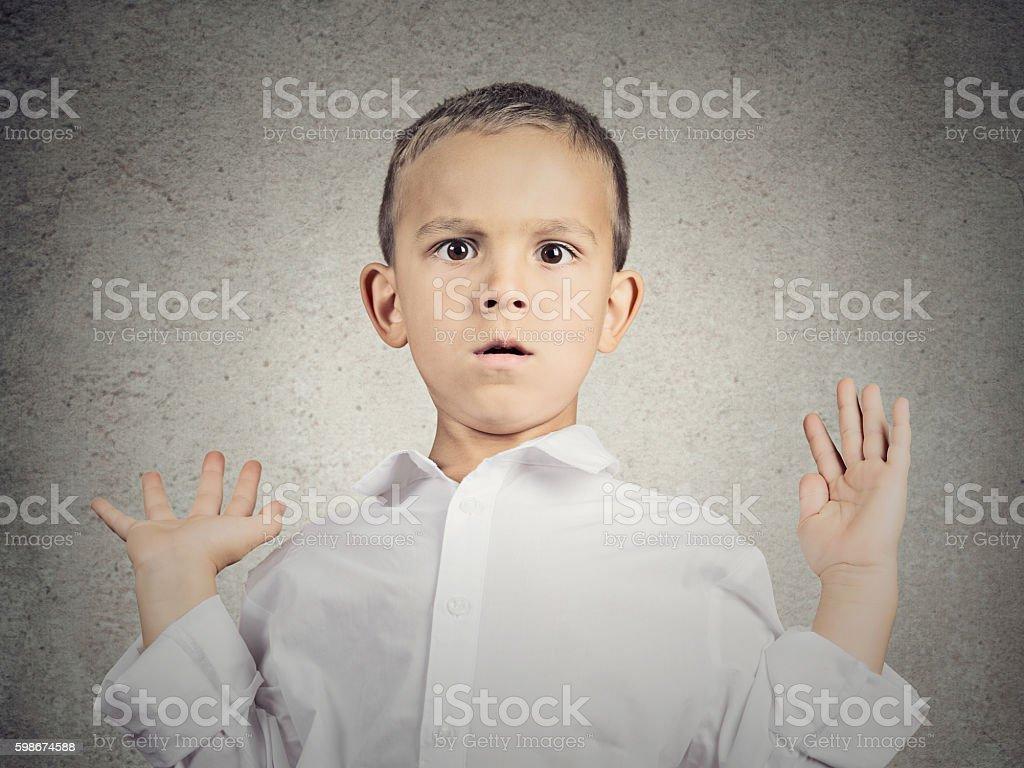 Scared child boy stock photo