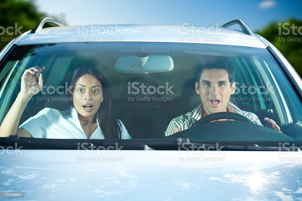 Scared Couple In The Car royalty-free stock photo