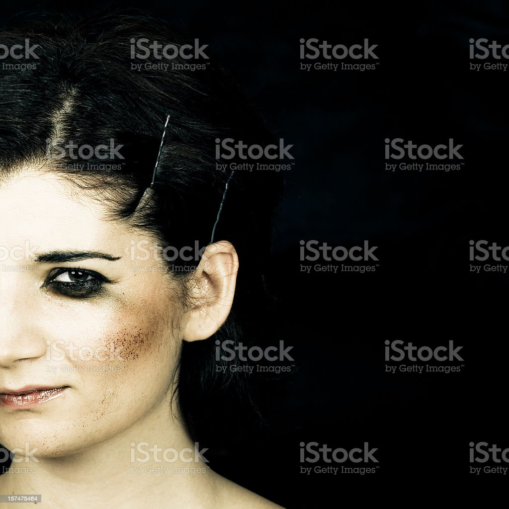 Scared dark lady stock photo