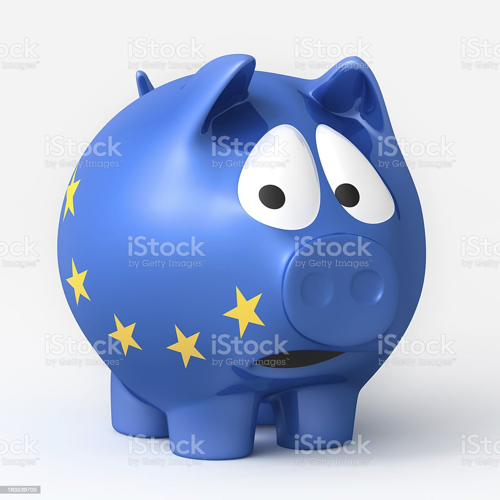 Scared European Piggy Bank royalty-free stock photo