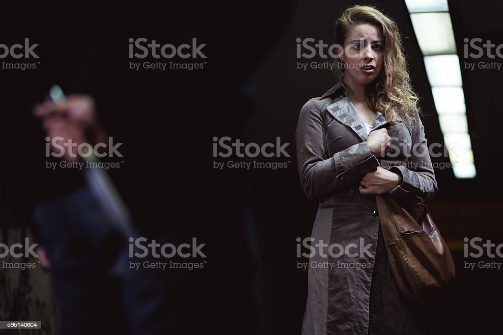 Scared for her life stock photo
