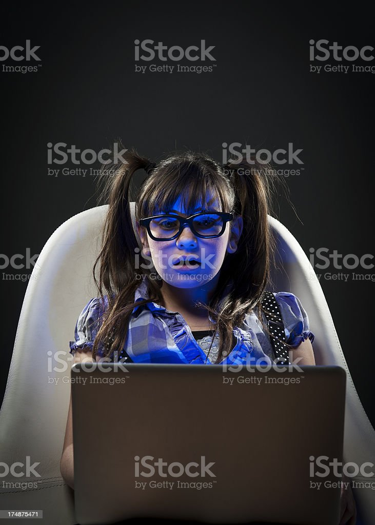 Scared girl on computer royalty-free stock photo