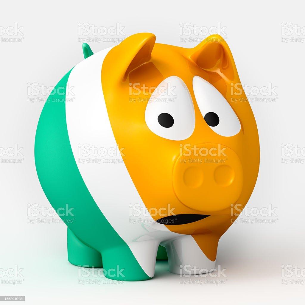 Scared Irish Piggy Bank royalty-free stock photo