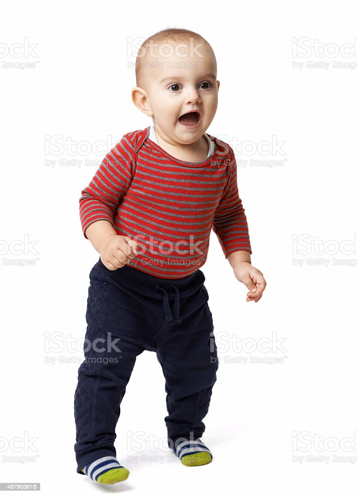 scared little boy opened his mouth stock photo