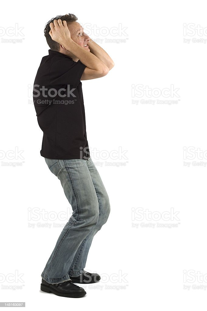 Scared Man 3 stock photo