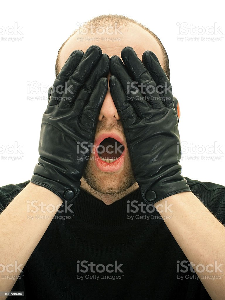 Scared man royalty-free stock photo