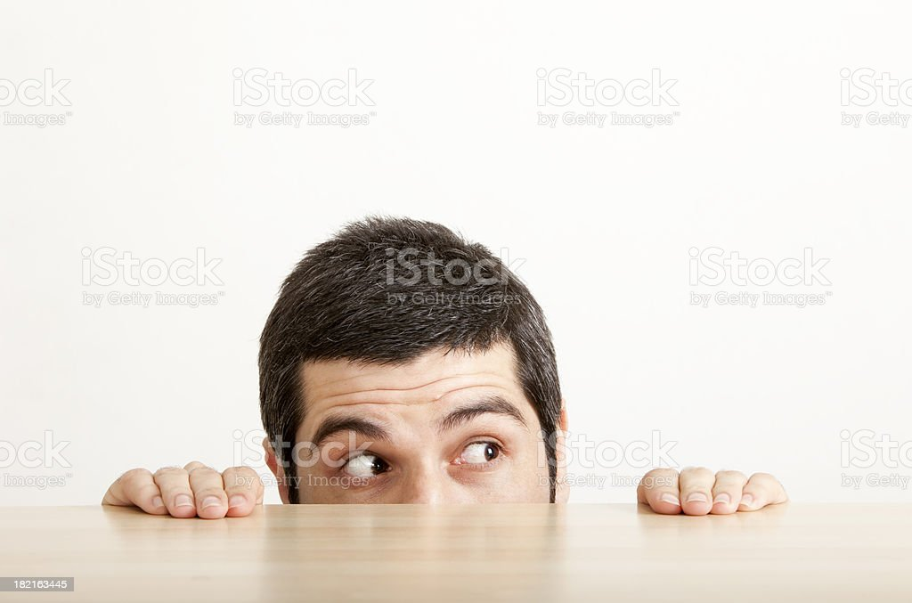 Scared Man stock photo