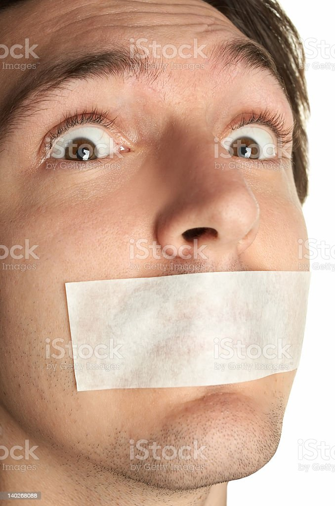 scared man with gag royalty-free stock photo