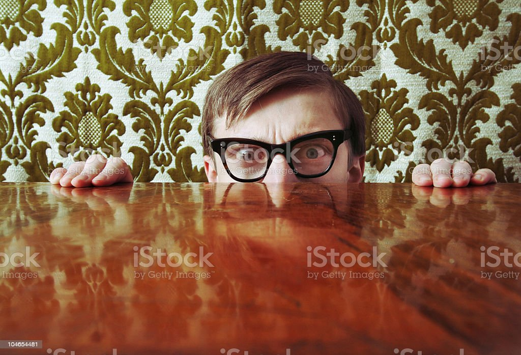 Scared nerd royalty-free stock photo