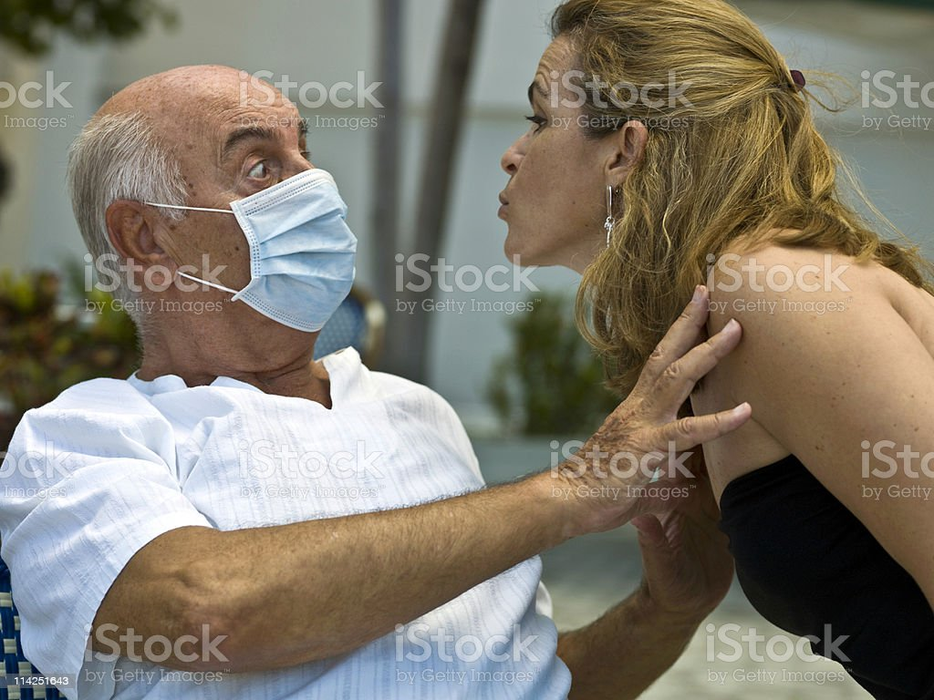 Scared of contagion stock photo