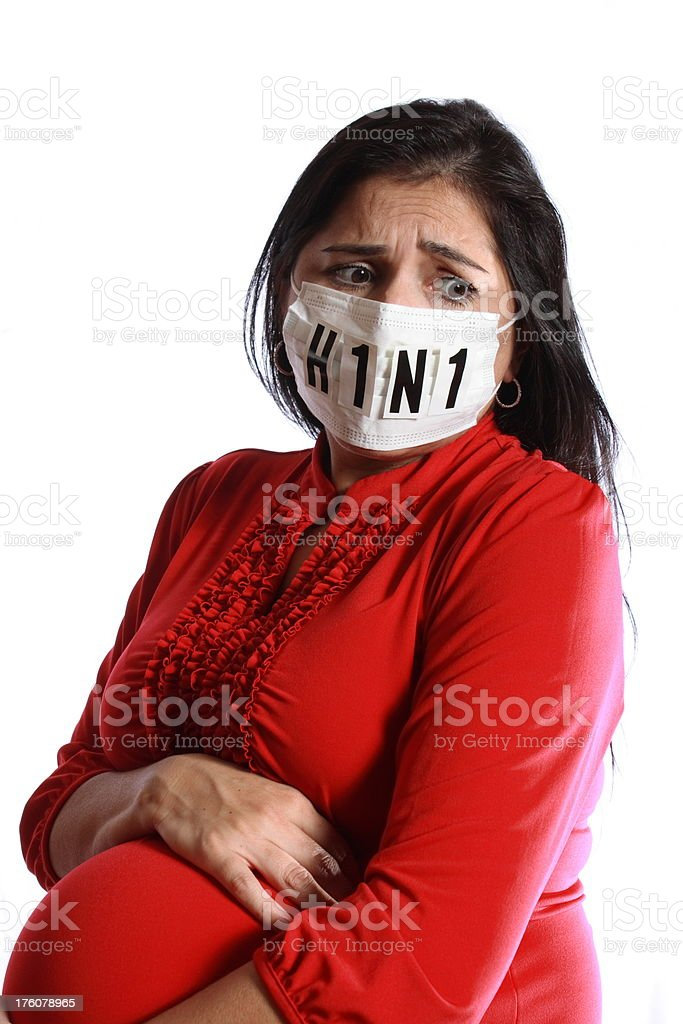 Scared Pregnant Woman Fears Flu Virus royalty-free stock photo