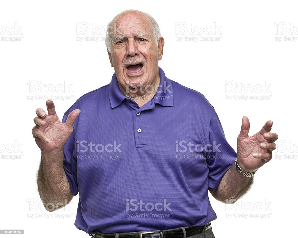 Scared Senior Man stock photo