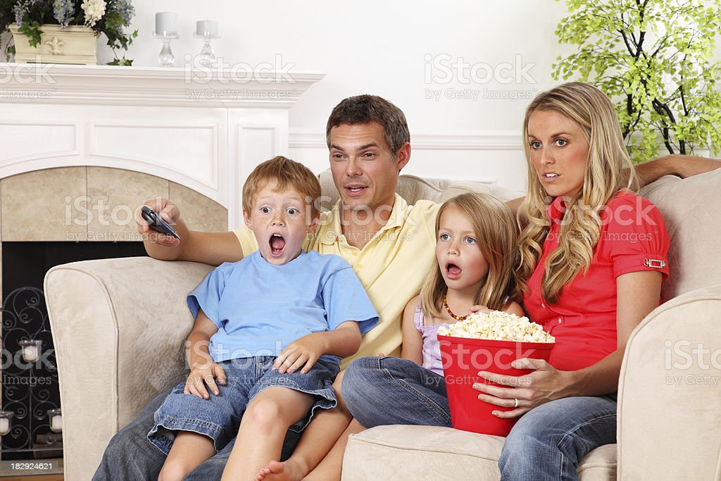 Scared Television Viewers royalty-free stock photo