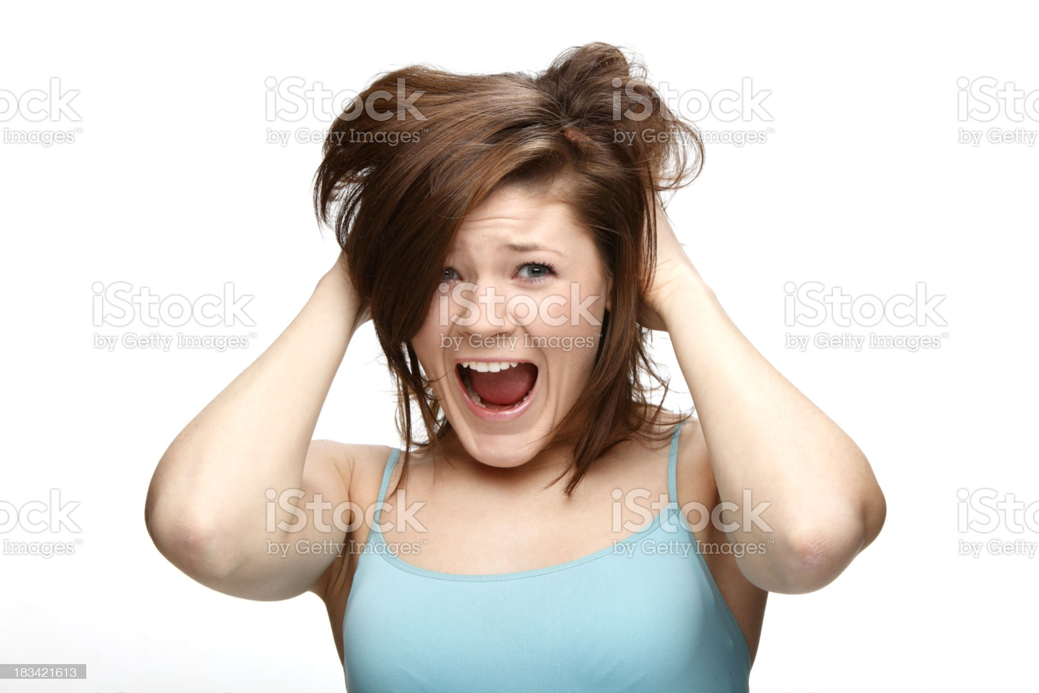 Scared woman is getting by hair and he screaming XXXL royalty-free stock photo