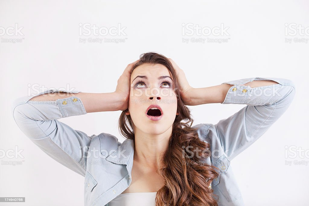 Scared woman royalty-free stock photo