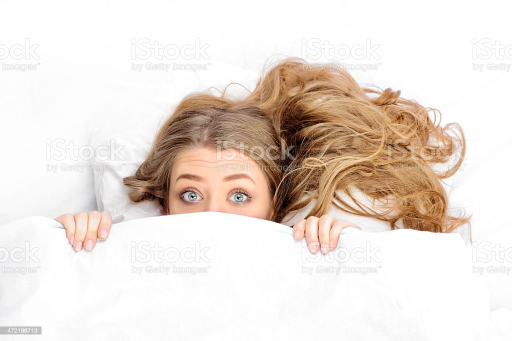 scared woman stock photo