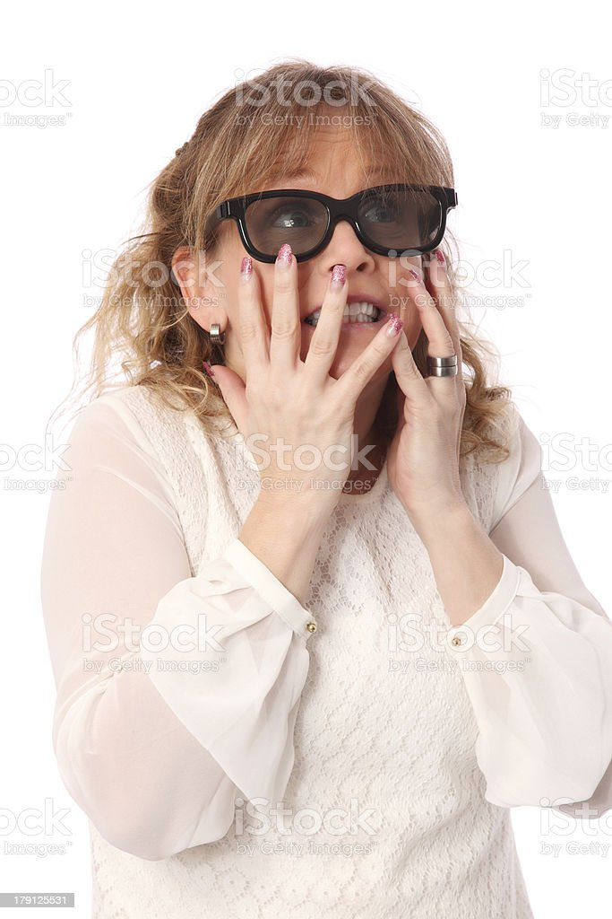 Scared woman watch 3D movie royalty-free stock photo